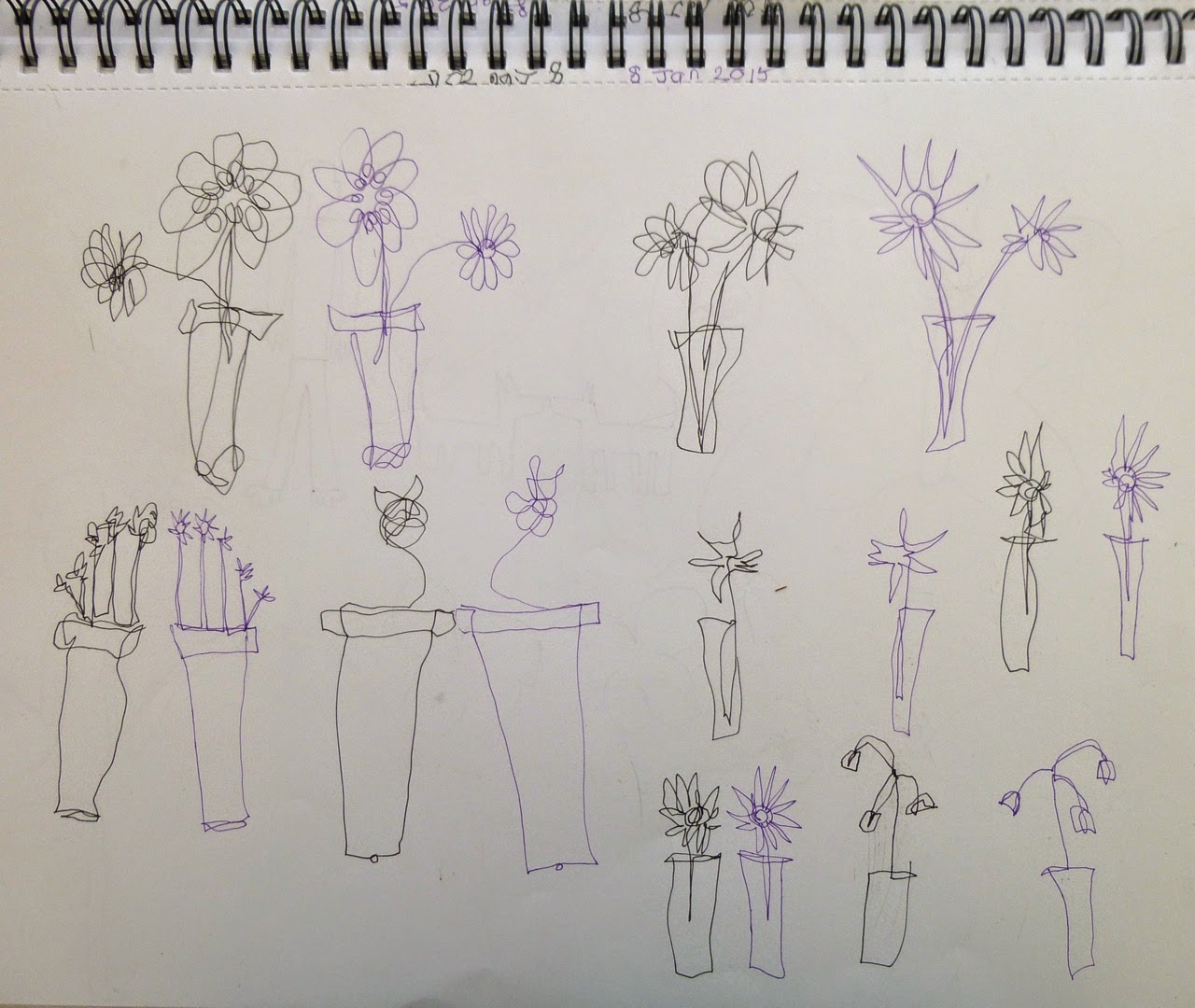 Vases of flowers drawn side-by-side simultaneously with left and right hand