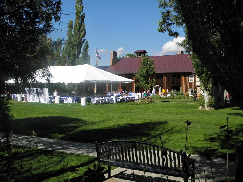 Busy activity in preparation for a wedding reception on the Fuller Lodge