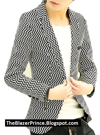ZigZag Rigid Creative White Black Stunning Blazer