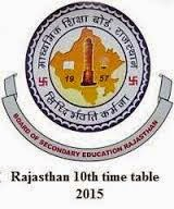 RBSE-BSER-Rajasthan Board 10th Time Table 2015