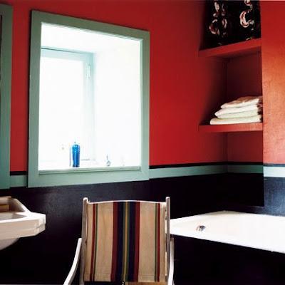 Cuarto de baño con sorprendentes colores