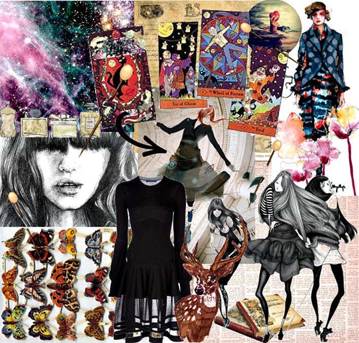 cosmic balance mood board, butterflies, stag, tarot cards, little black dress, lbd