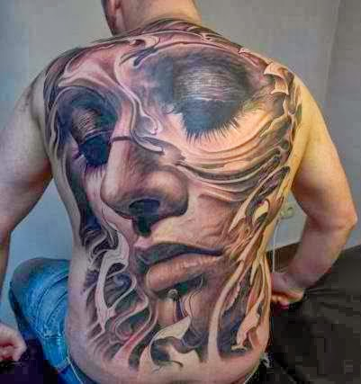 Amazing full back 3D tattoo! by Den Yakovlev.