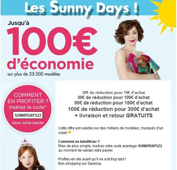 Les Sunny Days Saranza: 20€ de réduction pour 70€ d'achat bon plan mode promo saranza