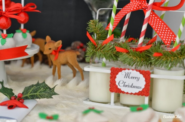 Christmas Baby Deer Party milk bottles by BistrotChic