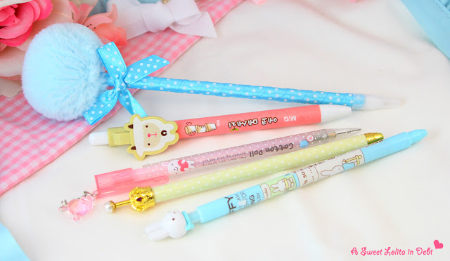 lolita pens, lolita pencil, cute pens, cute pencil, miffy pen, kawaii pens, pastel pens, cool pencil case