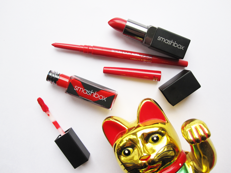 Review & Swatches: Smashbox Be Legendary Lipstick in Legendary, Always Sharp Lip Liner in Ruby & Be Legendary Long Wear Lip Lacquer in Firecracker