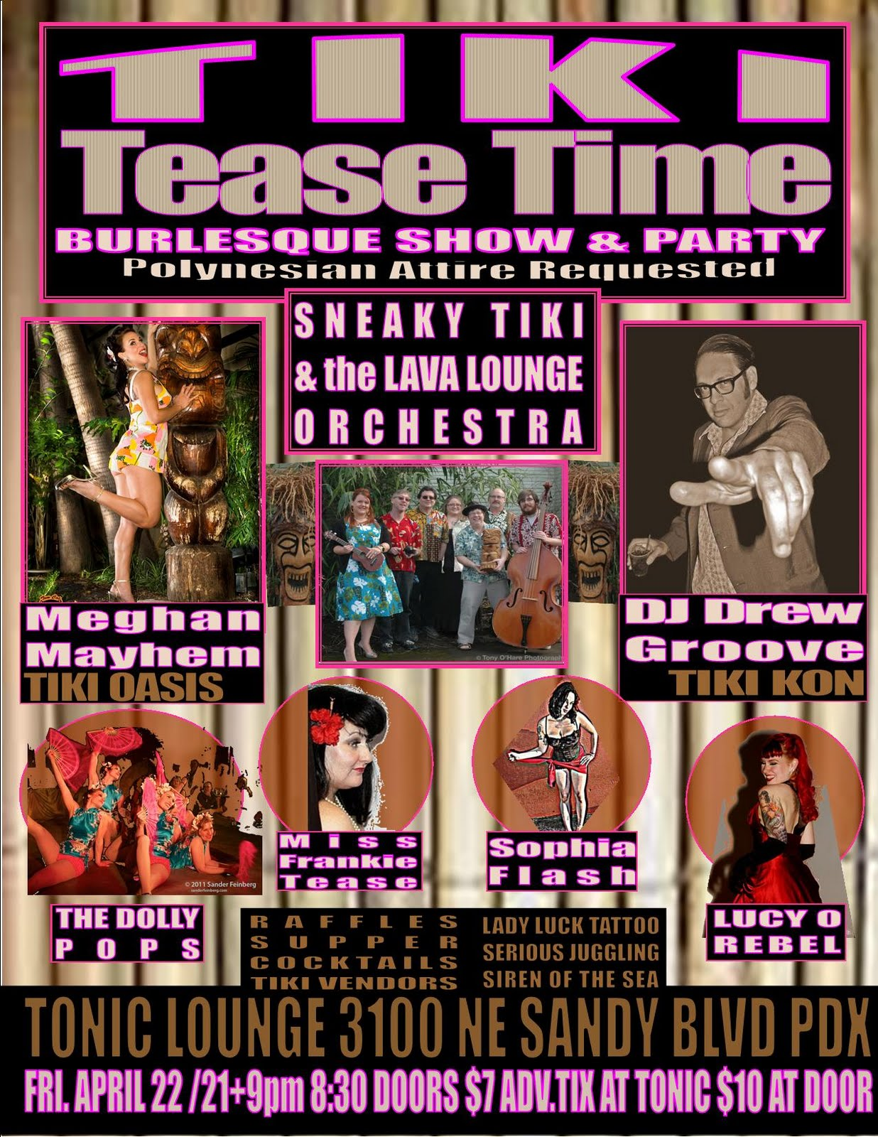 Win Tickets: Tiki Tease Time Burlesque Show & Party @ Tonic Lounge | Feat. Lava Lounge Orchestra, Tiki Vendors, Cocktails