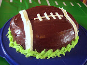 . really have two cakes so I semiimprovised a footballshaped cake.