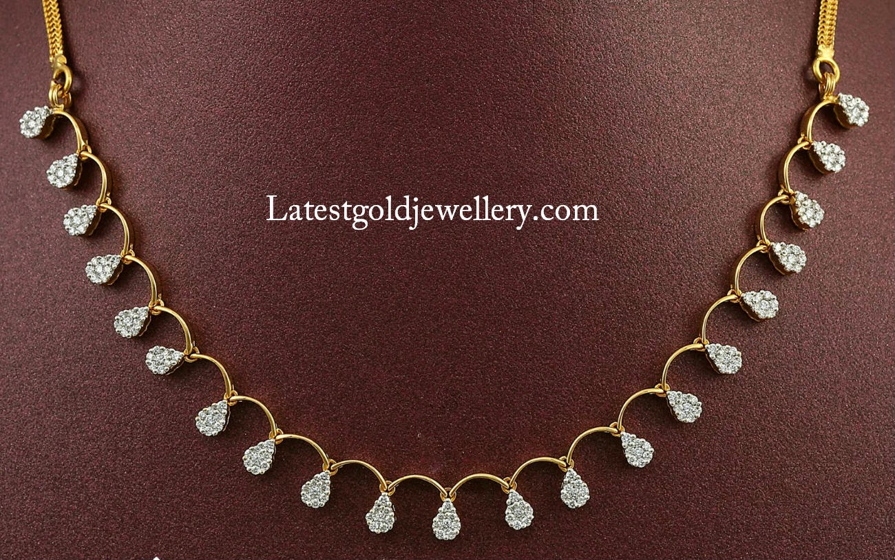 Simple Diamond Necklace Latest Gold Jewellery Designs