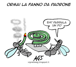 zanzare, estate, umorismo, vignetta