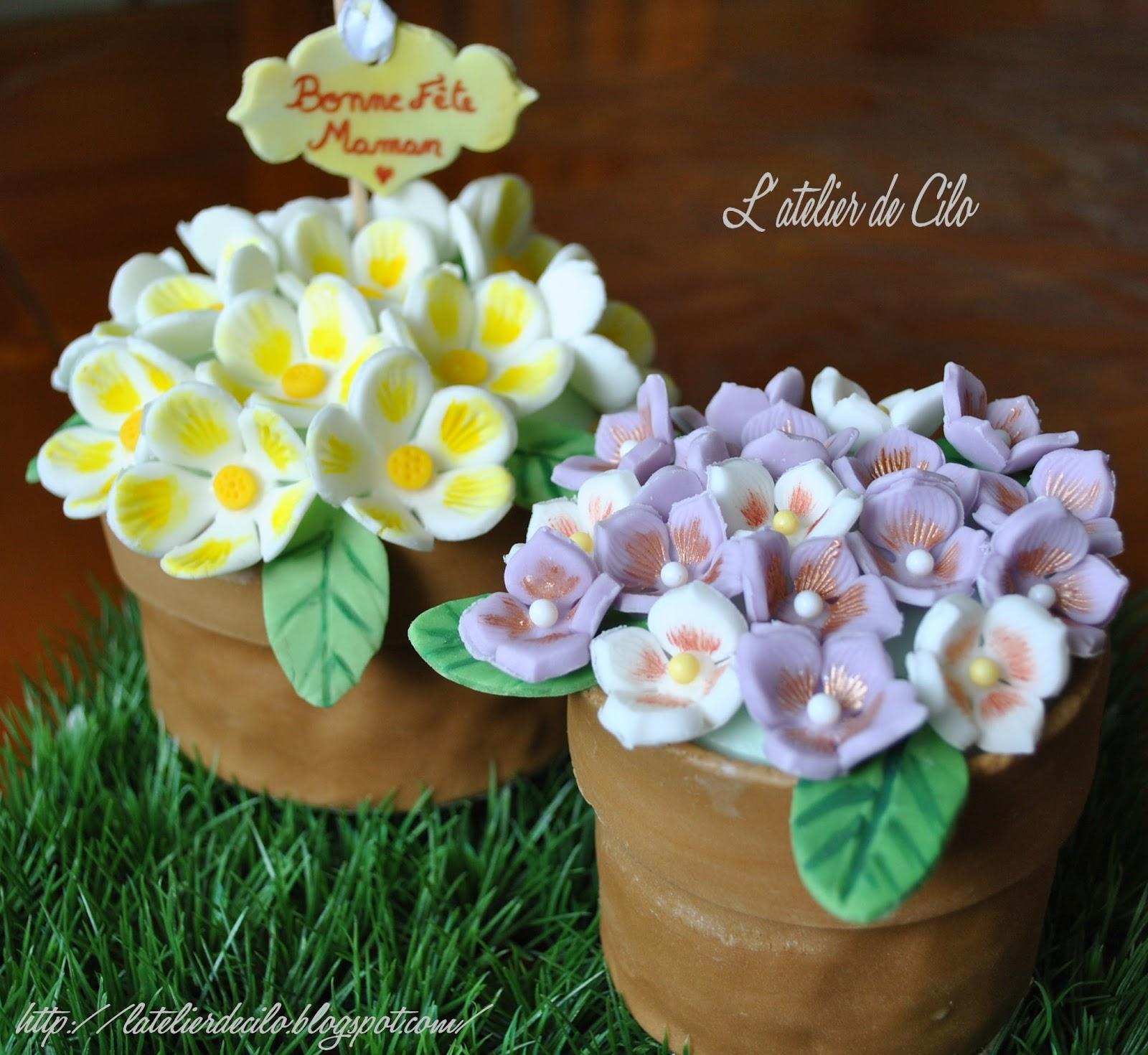 Berühmt L'atelier de Cilo: Gâteau « Pot de fleurs » en pâte à sucre pour  TM57