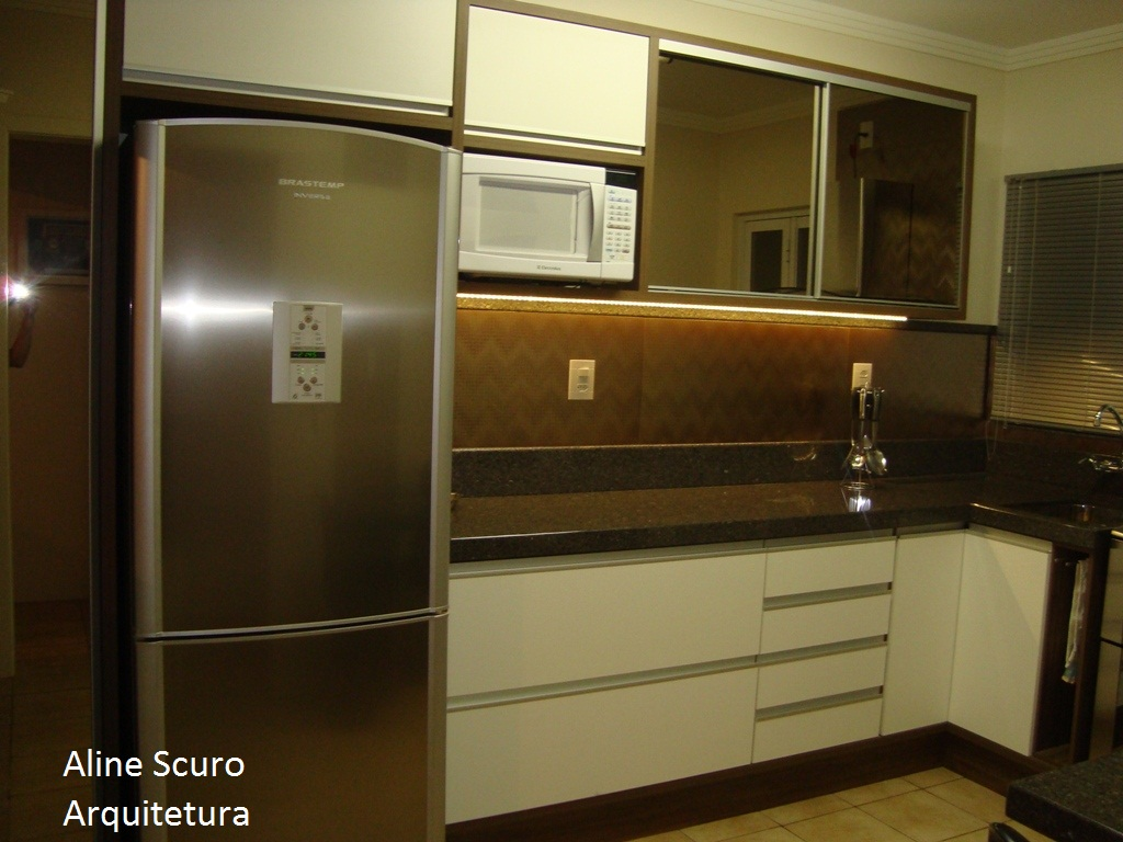 #2F220F  Projeto de Banheiro e Cozinha em apartamento. Cidade: Marau RS 1024x768 px Projetos Para Cozinha De Apartamento #857 imagens