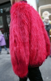 Jazzy! Modern day men's red fur jacket.