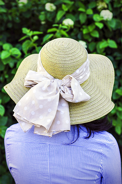 Ann Taylor dot bow straw hat
