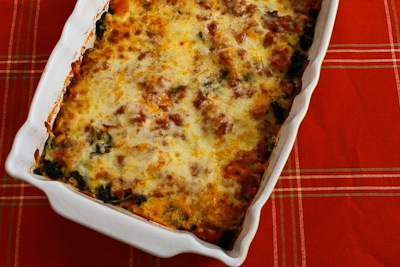 Sausage and Kale Mock Lasagna Casserole (Low-Carb, Gluten-Free) found on KalynsKitchen.com