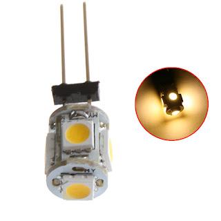 5050 SMD 5 LED Light G4 Bulb Marine Lamp Cabinet Car 12V