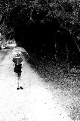 walking alone in rain