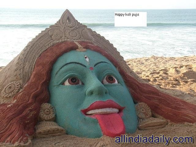 Maa Kali sand art at Puri by Sudarsan Pattnaik