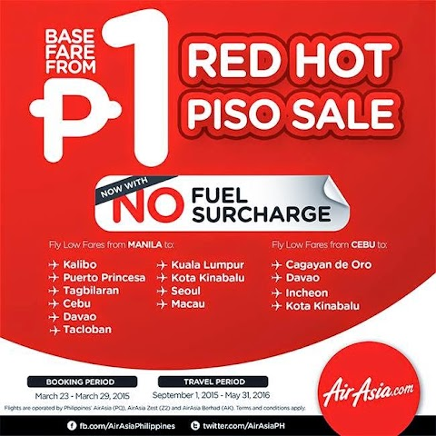AirAsia Philippines: P1 Red Hot Sale!
