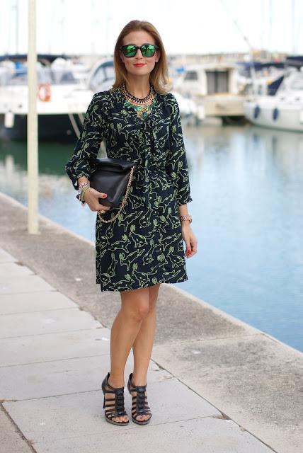 Surfdome, rabbit printed dress, Oakley mirror sunglasses, Cesare Paciotti shoes, Fashion and Cookies, fashion blogger