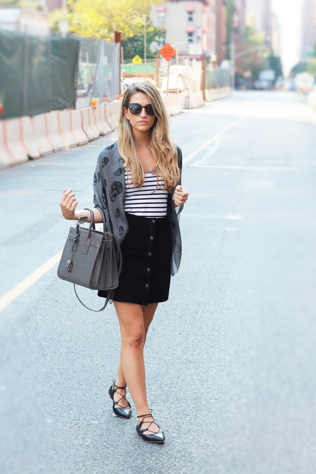 black leather lace up flats, suede button front skirt