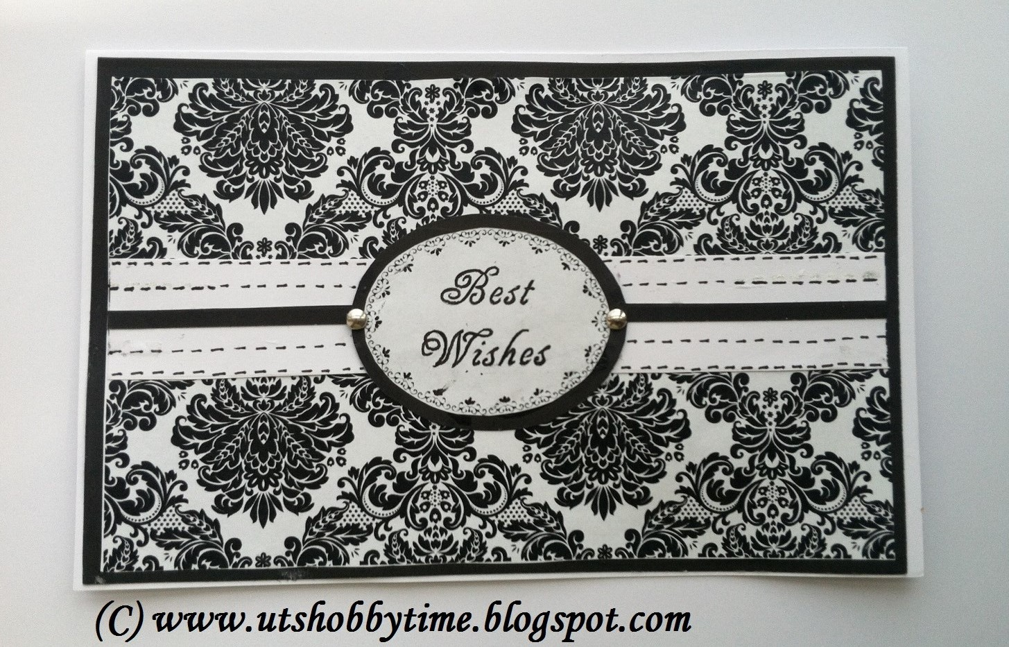 Uts hobby time handmade black white greeting card best wishes black and white best wishes greeting card using damask paper m4hsunfo