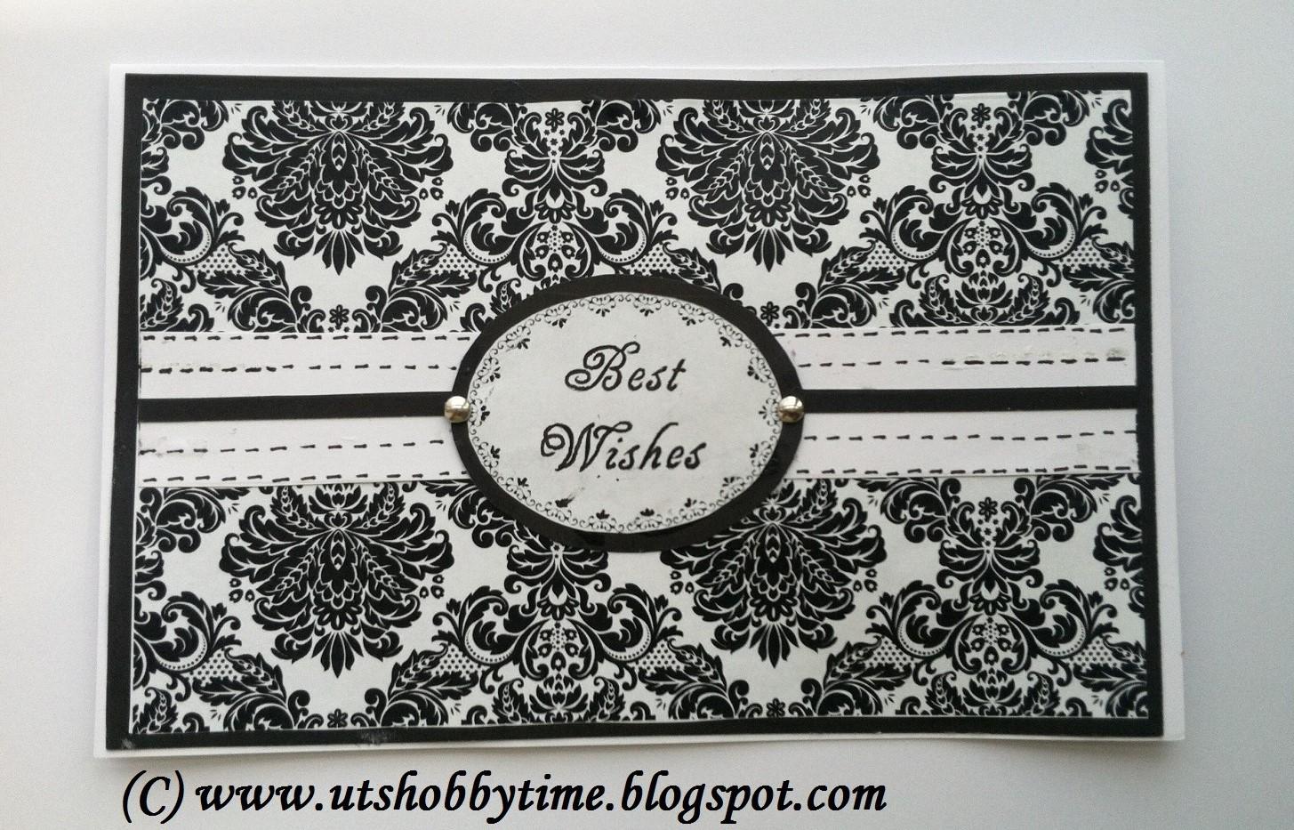 Uts Hobby Time Handmade Black White Greeting Card Best Wishes