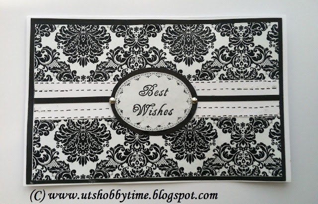 black and white best wishes greeting card using damask paper