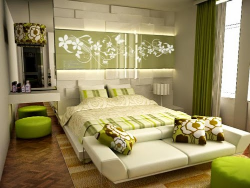 retro floral design bedroom with hight green curtain