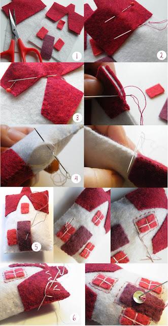 Felt christmas decoration using hand embroidery