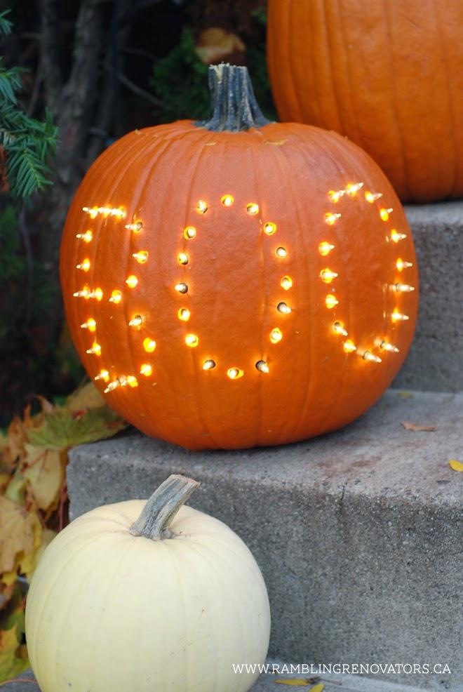 pumpkin carving idea | marquee light pumpkin ramblingrenovators.ca