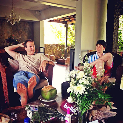 Greyson Chance wearing shorts at his villa in Bali - May 2013