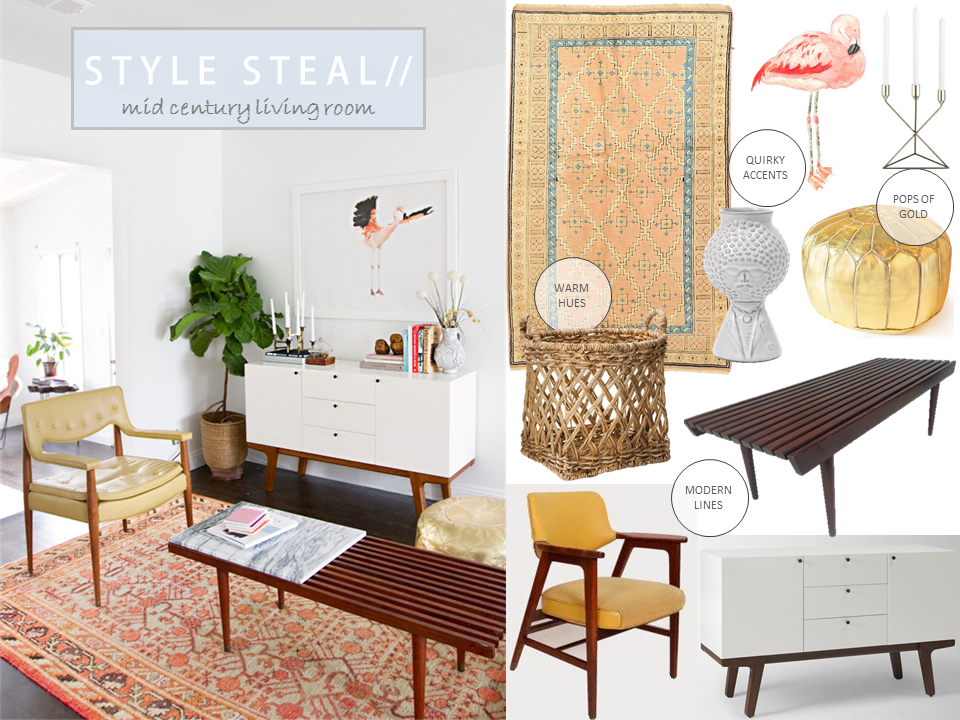 Boho Beach Bungalow: Style Steal 3: Mid Century Living Room