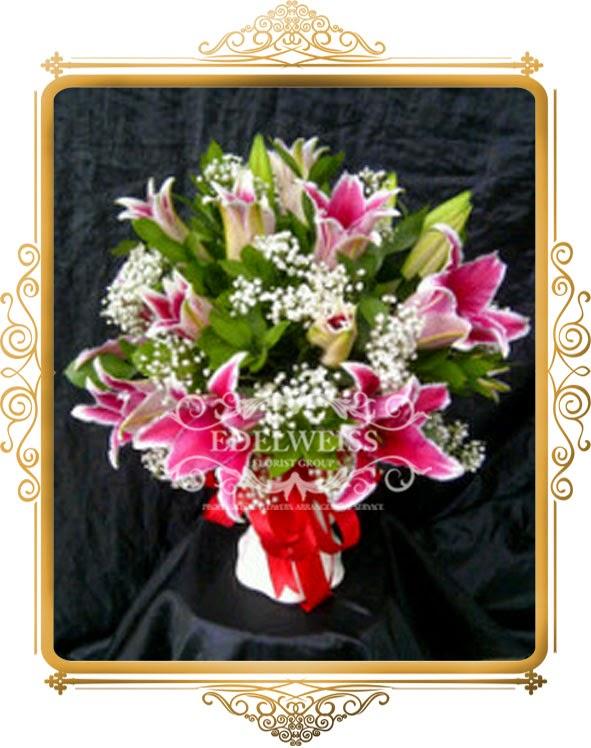 bunga lily casablanca pink
