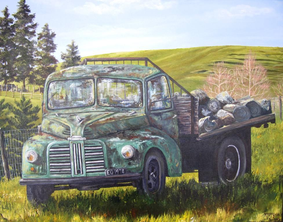 Paintings by Raewynne McGhie: Old Cars, trucks, vehicles