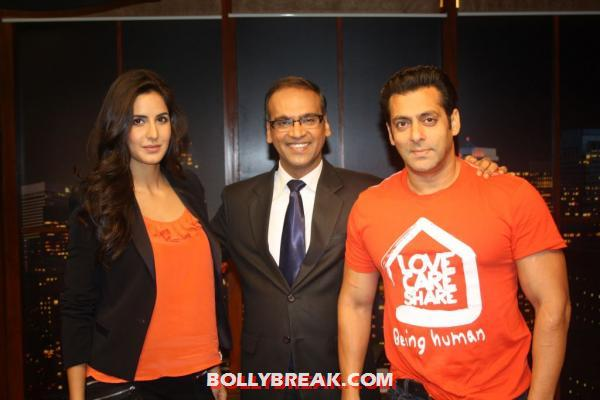 Salman Khan ,Katrina Kaif in Orange Tops -  Salman Khan ,Katrina Kaif at various Ek Tha Tiger promotions
