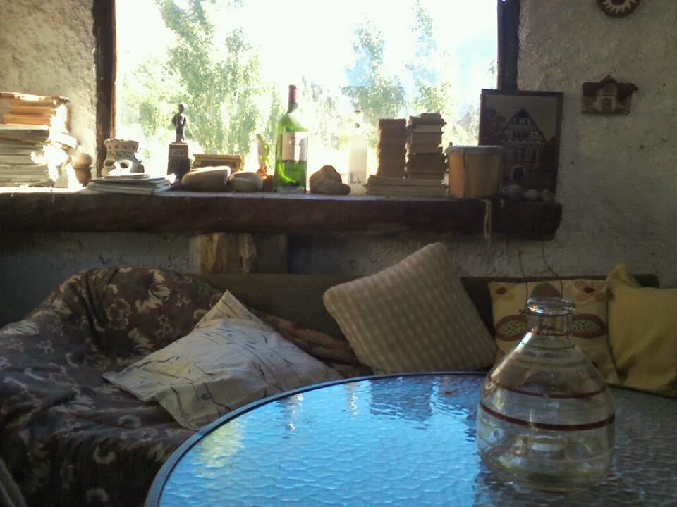 Living y Cocina Equipada en un Ambiente Rustico