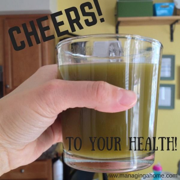Green juice drinking
