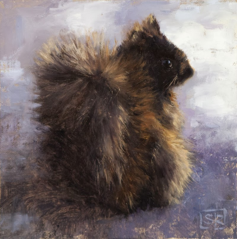 Eastern Gray Squirrel, black variant, oil on canvas, Shannon Reynolds