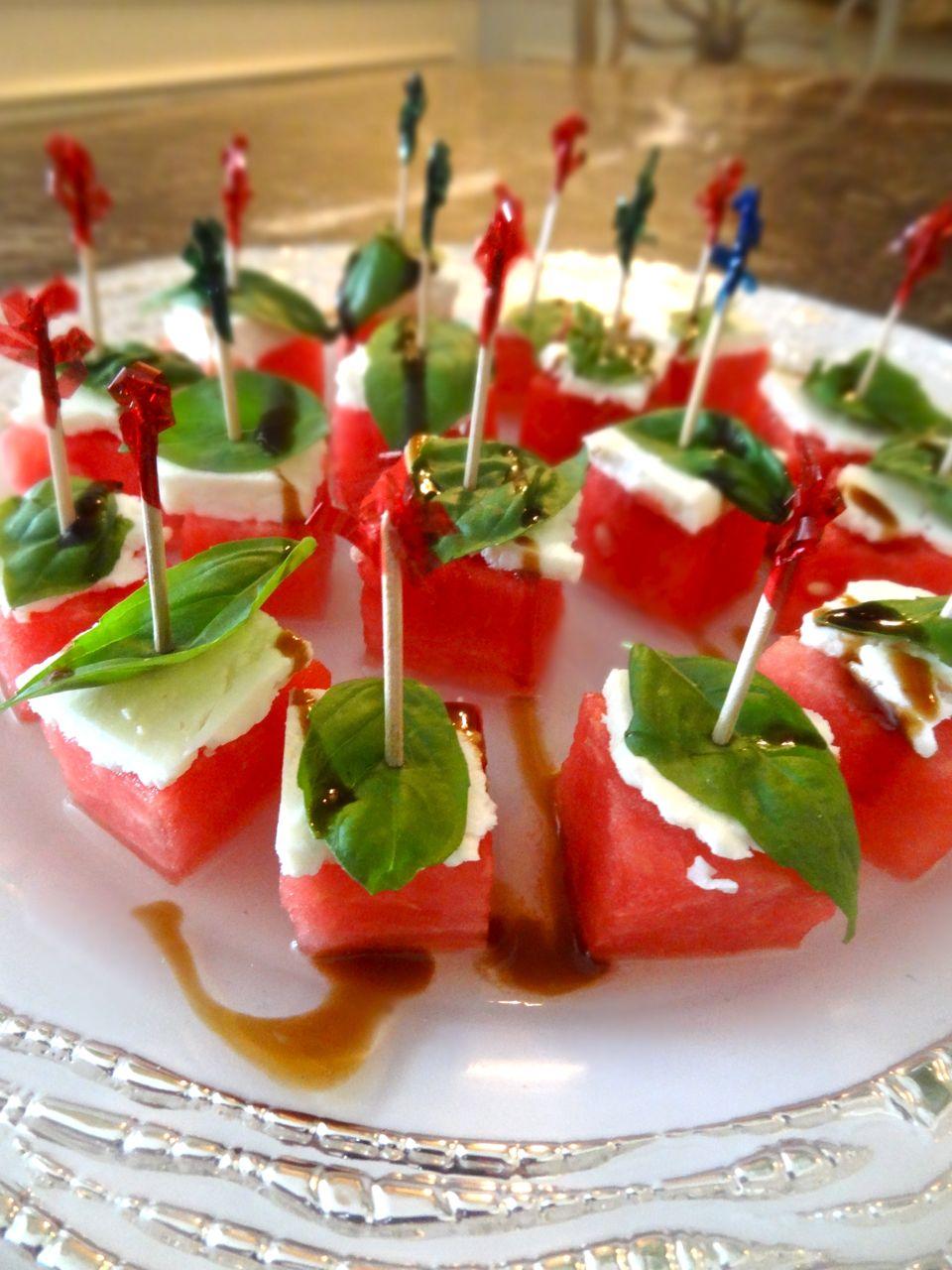 Scrumpdillyicious: Watermelon & Feta Skewers with Fresh Basil