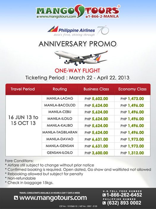 Mango Tours Promo Philippine Airlines