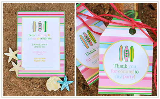 surf pool party invitation and favor tags