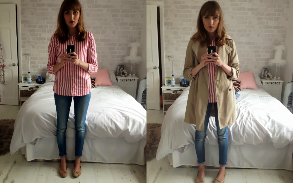 zara red and white striped shirt, uniqlo trench coat