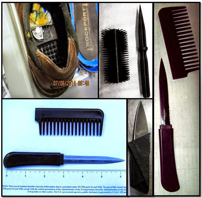 Knife In Shoe (DTW), Brush Knife (DEN), Comb Knives (DTW) & (MCI), Credit Card Knife (MSP)