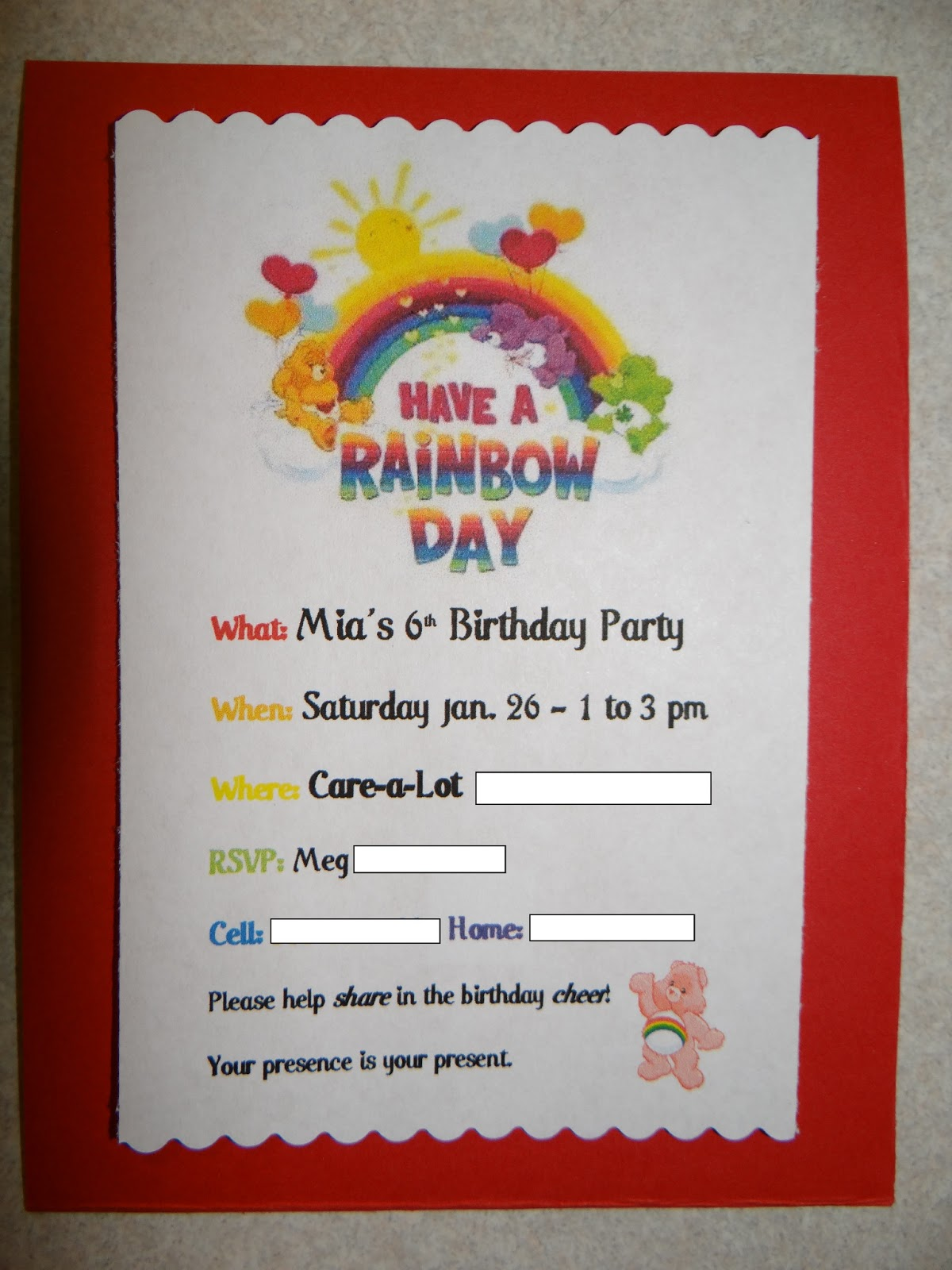 Because I Said So and Other Mommyisms Welcome to CareaLot A – Care Bear Birthday Invitations