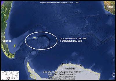 Ubicación de las ISLAS GEORGIAS DEL SUR Y SANDWICH DEL SUR con relacion a los continentes cercanos, Google Earth