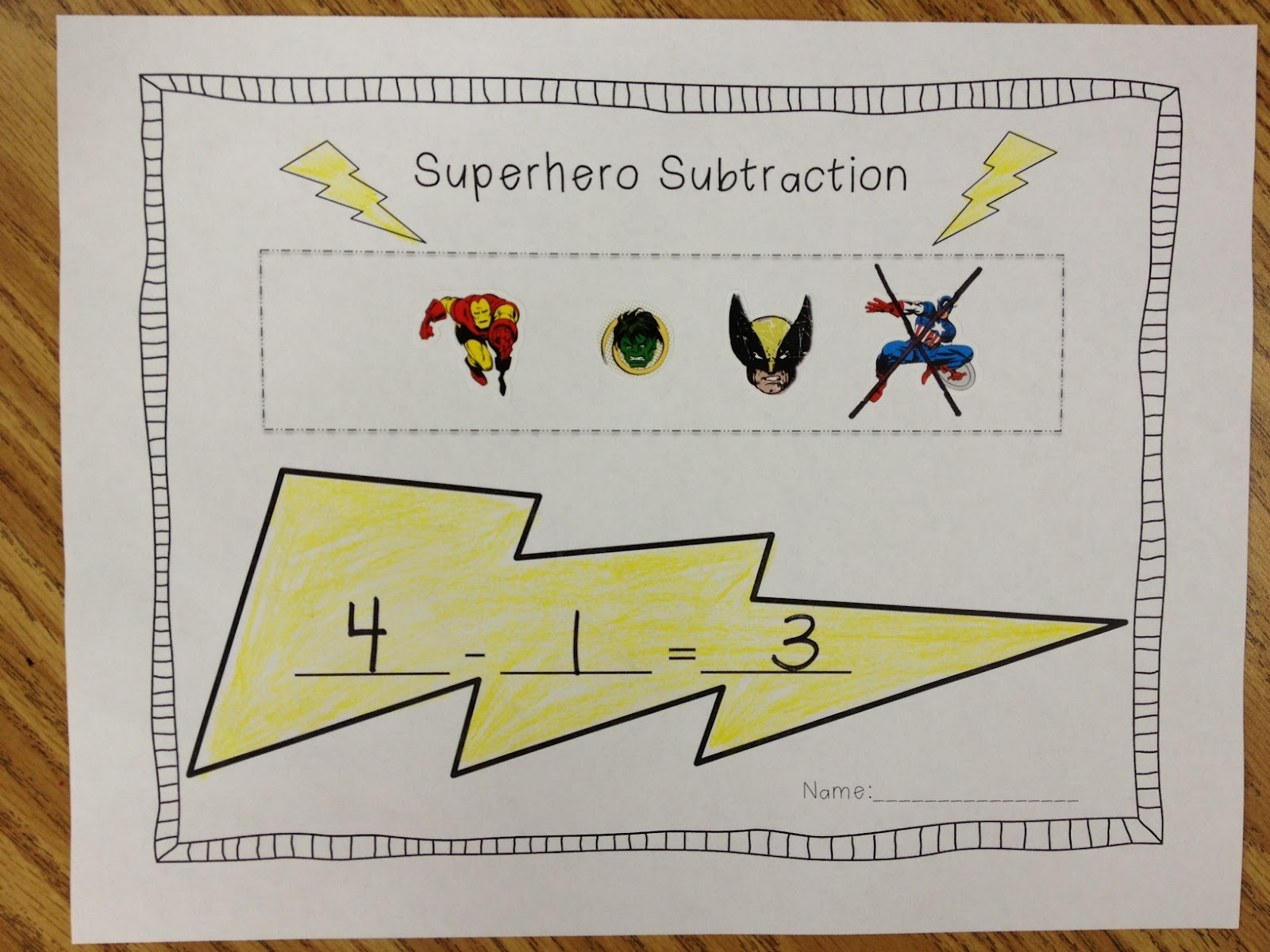 superhero subtraction and building words apples and abc 39 s. Black Bedroom Furniture Sets. Home Design Ideas