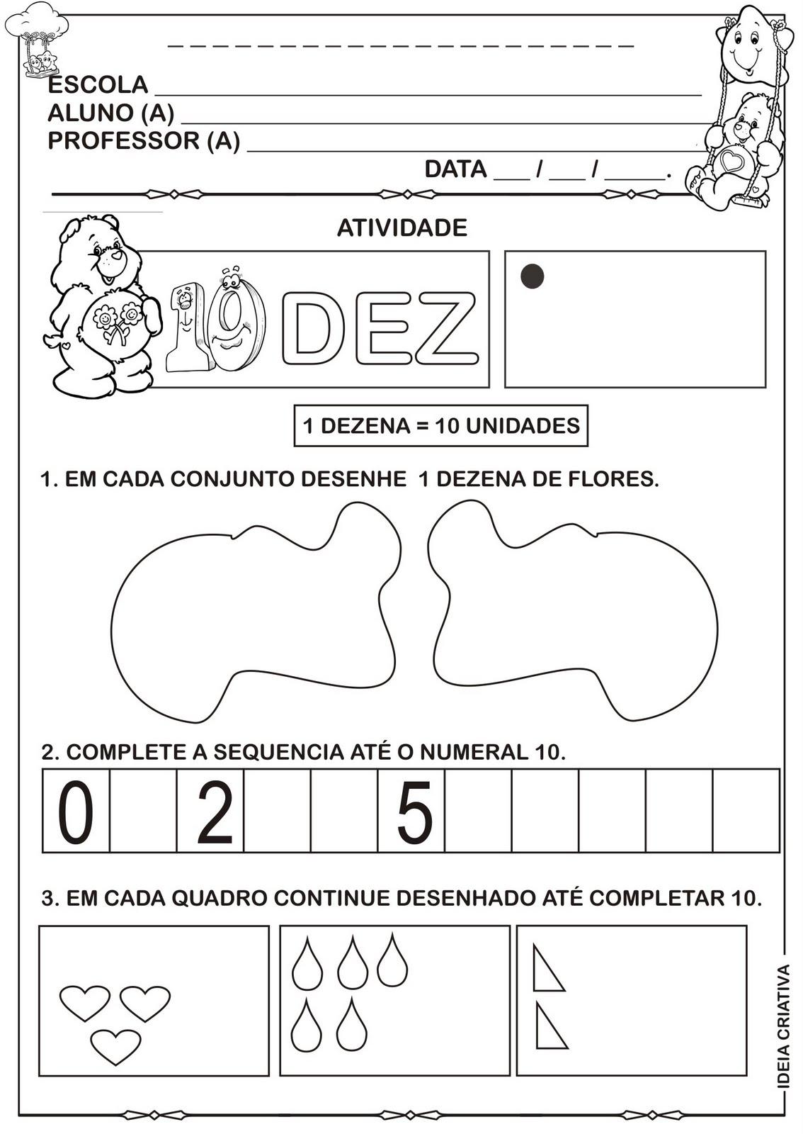 Excepcional Atividade Numerais 10,11,12,13 e 14 Ursinhos Carinhosos pra  GB08