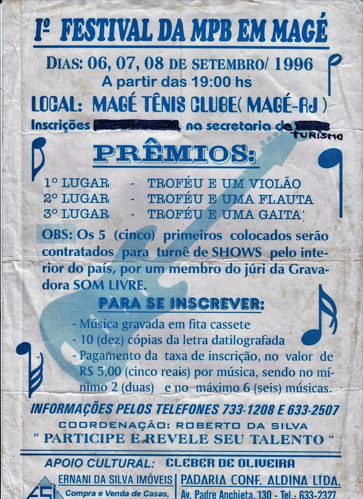 1( PRIMEIRO) FESTIVAL DA MPB EM MAGÉ